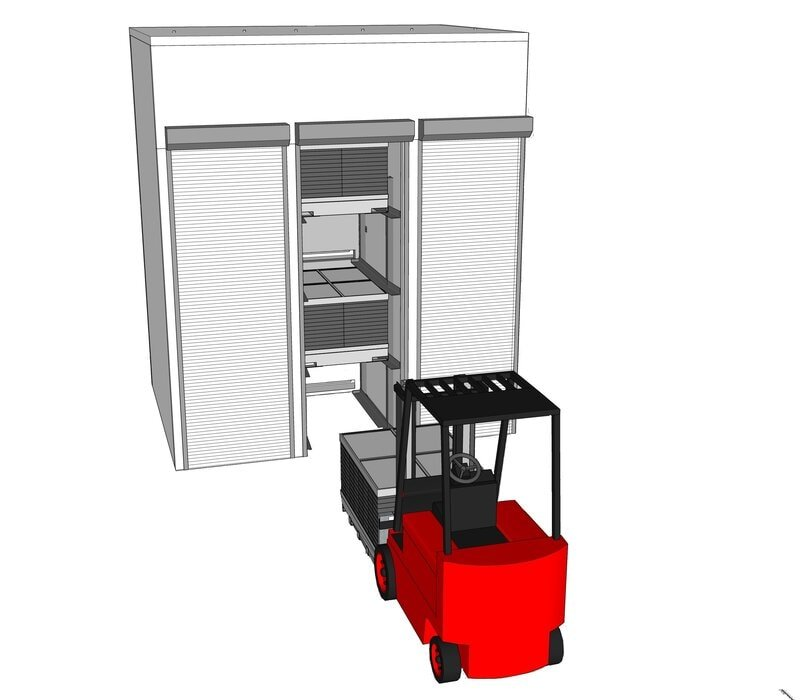 Cannabis Drying Cell Forklift With Sandwich Unit Open Shutter 2 Cannabis Drying